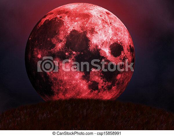 ανατέλλω , κόκκινο , φεγγάρι  - csp15858991