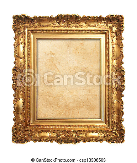 αντίκα , κορνίζα , γριά , χρυσός  - csp13306503