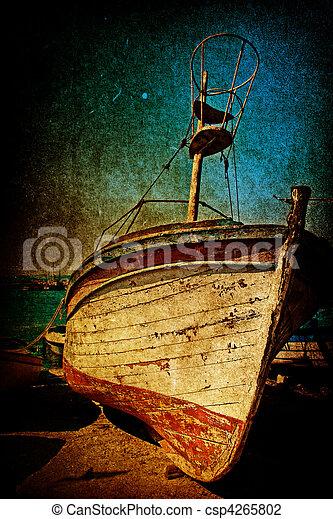 αντίκα , ρυθμός , grunge , αφανίζω , σκουριασμένος , βάρκα  - csp4265802