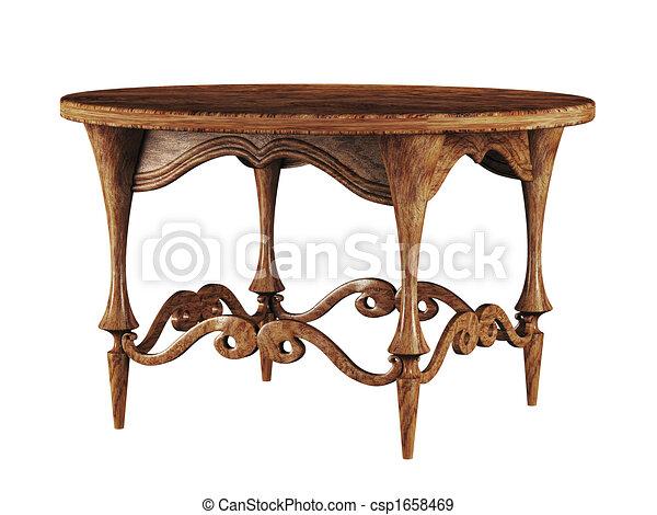 αντίκα , τραπέζι , στρογγυλός , 3d  - csp1658469