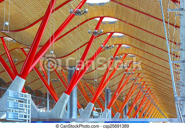 ανώτατο ύψος , madrid., μαδρίτη , οροφή , τελικός , αεροδρόμιο , καθέκαστα , spain., διεθνής , barajas, δομή  - csp25691389