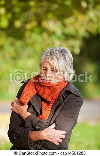 ανώτερος γυναίκα , πάρκο , τουρτούρισμα  - csp14501285