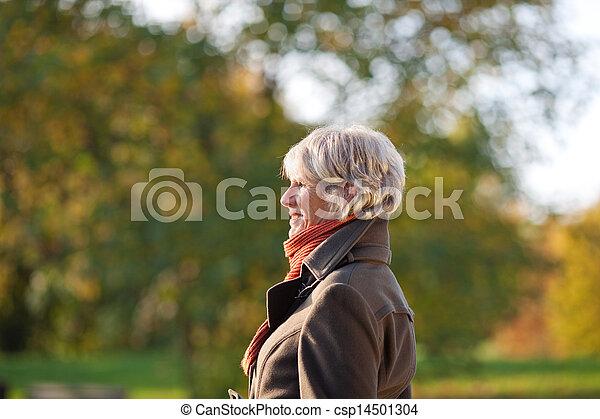 ανώτερος γυναίκα , πάρκο  - csp14501304