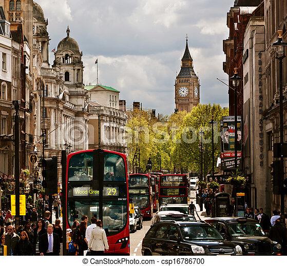 απασχολημένος , βουνοκορφή , μεγάλος , αεροπλάνο , αγγλία , uk., δρόμοs , λονδίνο , κόκκινο  - csp16786700