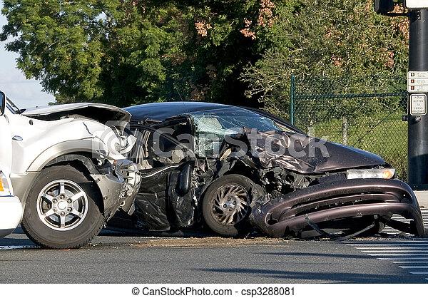 απασχολημένος , διατομή , ατύχημα , δυο , όχημα  - csp3288081