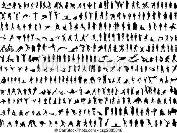 απεικονίζω σε σιλουέτα , ανθρώπινος , εκτοντάδες  - csp2885846
