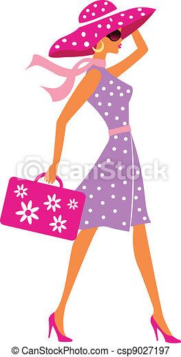 αποσκευές , ταξιδεύω , κορίτσι , ομορφιά  - csp9027197