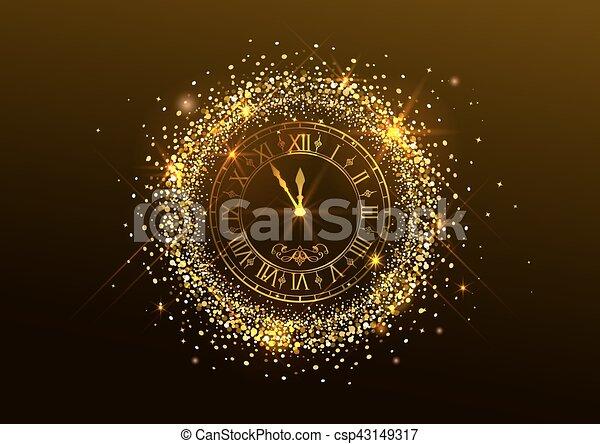αριθμητικό , ρολόι , μεσάνυκτα , year., ρωμαϊκός , καινούργιος  - csp43149317