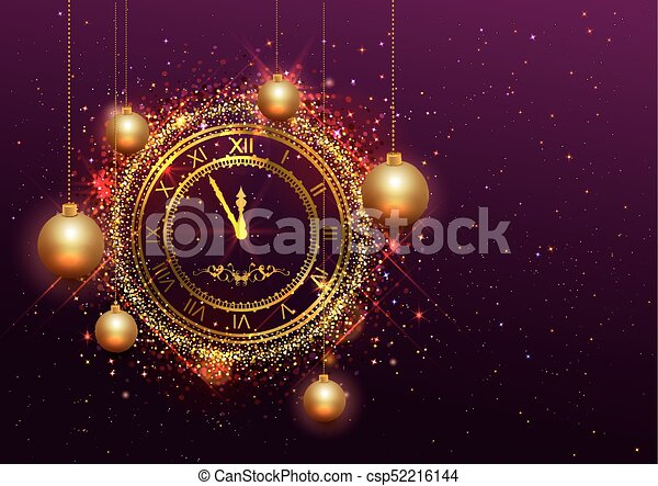αριθμητικό , χρυσός , ρολόι , παραμονή , ρωμαϊκός , έτος , καινούργιος  - csp52216144