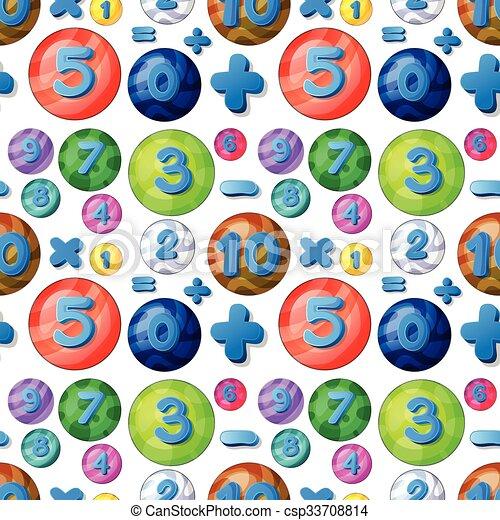 αριθμοί , αφρίζω , seamless, στρογγυλός  - csp33708814
