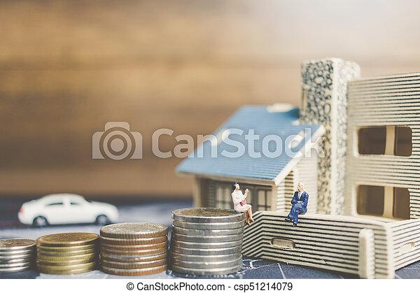 αρμοδιότητα ακόλουθοι , χρήματα , concept., κέρματα , μινιατούρα , ανάπτυξη , κάθονται , home., επένδυση  - csp51214079
