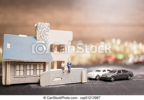 αρμοδιότητα ακόλουθοι , χρήματα , concept., κέρματα , μινιατούρα , ανάπτυξη , κάθονται , home., επένδυση  - csp51213987
