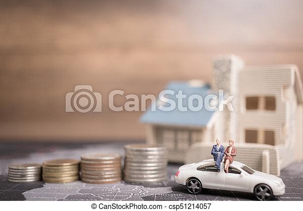 αρμοδιότητα ακόλουθοι , χρήματα , concept., κέρματα , μινιατούρα , ανάπτυξη , κάθονται , home., επένδυση  - csp51214057