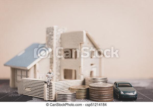 αρμοδιότητα ακόλουθοι , χρήματα , concept., κέρματα , μινιατούρα , ανάπτυξη , κάθονται , home., επένδυση  - csp51214184