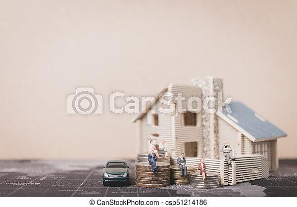 αρμοδιότητα ακόλουθοι , χρήματα , concept., κέρματα , μινιατούρα , ανάπτυξη , κάθονται , home., επένδυση  - csp51214186