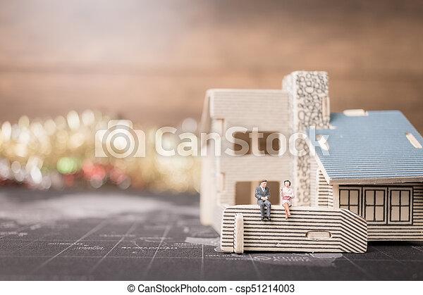 αρμοδιότητα ακόλουθοι , χρήματα , concept., κέρματα , μινιατούρα , ανάπτυξη , κάθονται , home., επένδυση  - csp51214003
