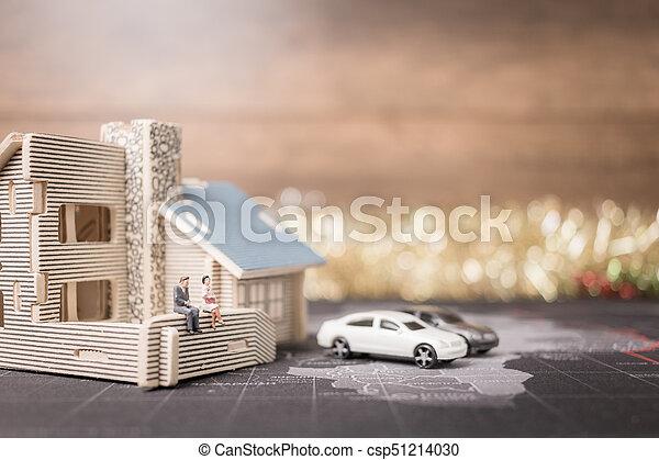 αρμοδιότητα ακόλουθοι , χρήματα , concept., κέρματα , μινιατούρα , ανάπτυξη , κάθονται , home., επένδυση  - csp51214030