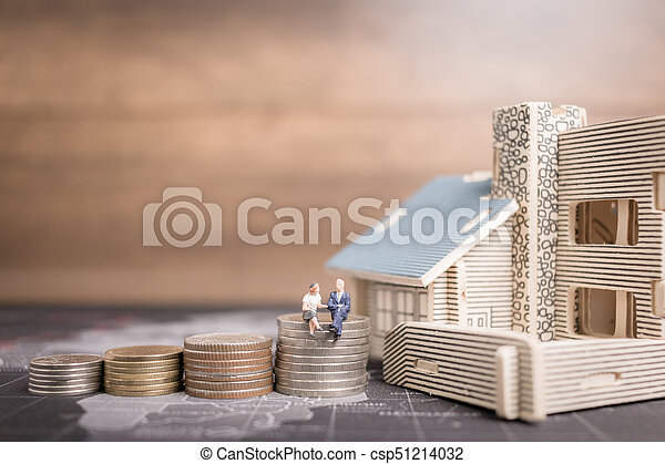 αρμοδιότητα ακόλουθοι , χρήματα , concept., κέρματα , μινιατούρα , ανάπτυξη , κάθονται , home., επένδυση  - csp51214032