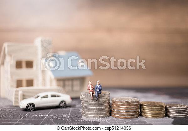 αρμοδιότητα ακόλουθοι , χρήματα , concept., κέρματα , μινιατούρα , ανάπτυξη , κάθονται , home., επένδυση  - csp51214036