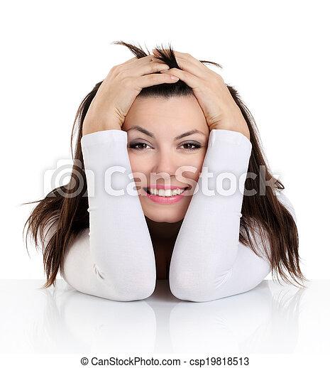 αστείος , γυναίκα , έκφραση , ζεσεεδ  - csp19818513