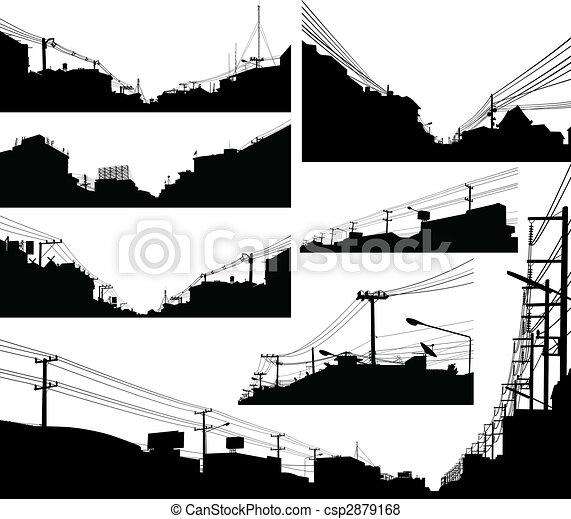 αστικός , απεικονίζω σε σιλουέτα , έμπροσθεν μέρος  - csp2879168