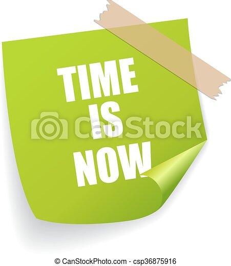 αυτοκόλλητη ετικέτα , τώρα , ώρα  - csp36875916
