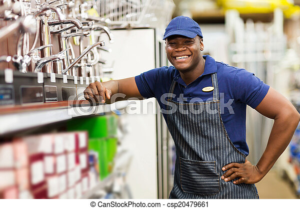 αφρικανός , ιλαρός , κατάστημα , σιδηρικά , εργάτης  - csp20479661