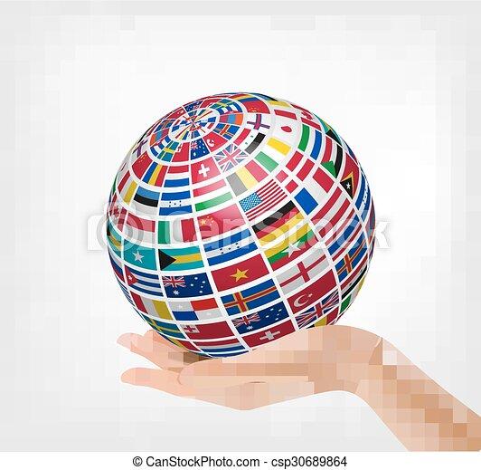 αόρ. του hold , σημαίες , κόσμοs , ανάμιξη. , σφαίρα  - csp30689864