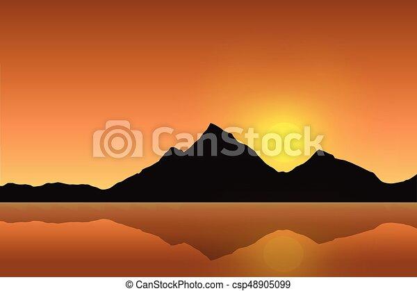 βουνό , ήλιοs , ουρανόs , αντανάκλασα , εικόνα , μικροβιοφορέας , ανατέλλων , επιφάνεια , θάλασσα , κάτω από , πορτοκάλι , τοπίο  - csp48905099
