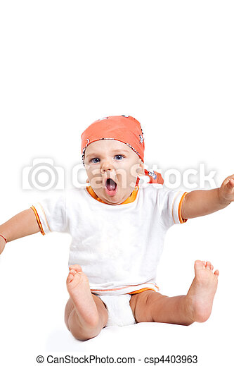 βρέφος αγόρι , θυμωμένος , ξεφωνίζω , αστείος  - csp4403963