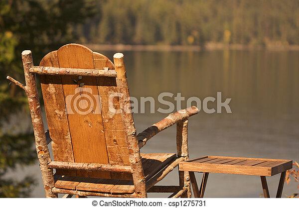 γαλήνιος , πρωί , σκηνή , λίμνη  - csp1275731