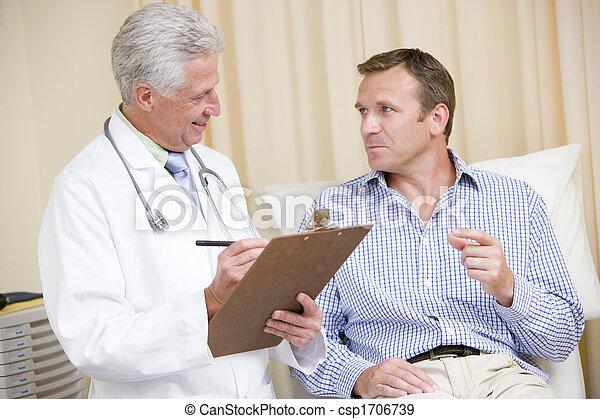 γενική εξέταση υγείας , διαγώνισμα , γιατρός , χορήγηση , γράψιμο , χρόνος , clipboard , άντραs , δωμάτιο  - csp1706739
