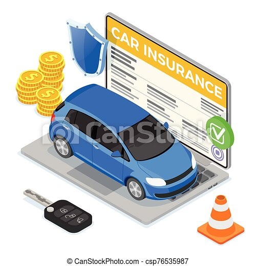 γενική ιδέα , άμαξα αυτοκίνητο ασφάλεια , online , isometric  - csp76535987