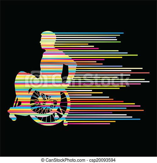 γενική ιδέα , άνθρωποι , αφίσα , αναπηρική καρέκλα , γαλόνι , ανάπηρος , μικροβιοφορέας , φόντο , γινώμενος , άντραs  - csp20093594