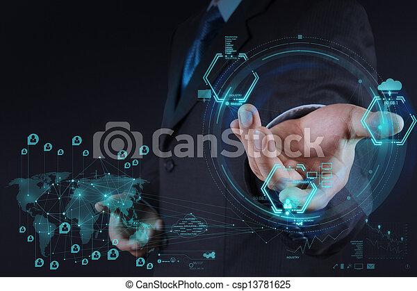 γενική ιδέα , δίκτυο , εργαζόμενος , δείχνω , μοντέρνος , ηλεκτρονικός υπολογιστής , επιχειρηματίας , καινούργιος , δομή , κοινωνικός  - csp13781625