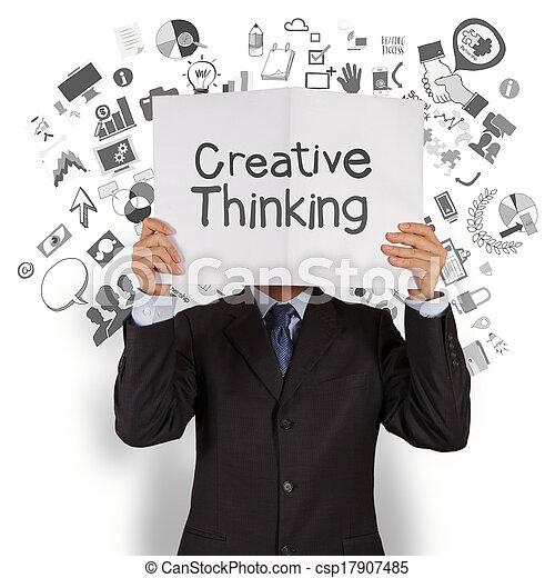 γενική ιδέα , επιχείρηση , δείχνω , σκεπτόμενος , καλύπτω , δημιουργικός , βιβλίο , φόντο , χέρι , επιχειρηματίας , στρατηγική  - csp17907485