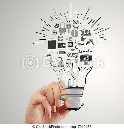γενική ιδέα , επιχείρηση , ελαφρείς , χέρι , βολβός , ζωγραφική , στρατηγική , δημιουργικός  - csp17910457