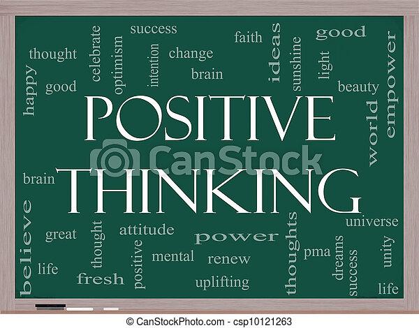 γενική ιδέα , λέξη , σκεπτόμενος , θετικός , μαυροπίνακας , σύνεφο  - csp10121263