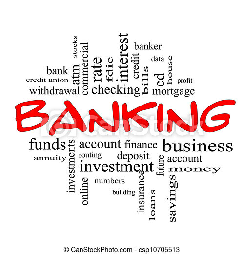γενική ιδέα , λέξη , & , τραπεζιτικές εργασίες , μαύρο αριστερός , σύνεφο  - csp10705513