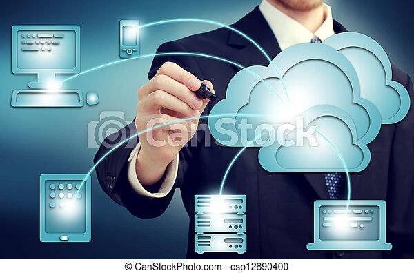 γενική ιδέα , σύνεφο , χρήση υπολογιστή  - csp12890400