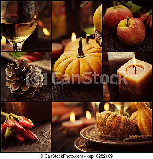 γεύμα , φθινόπωρο , κολάζ  - csp16282169