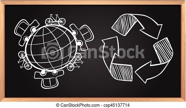 γη , ανακύκλωση , μεταφορά , πίνακας , σήμα  - csp45137714