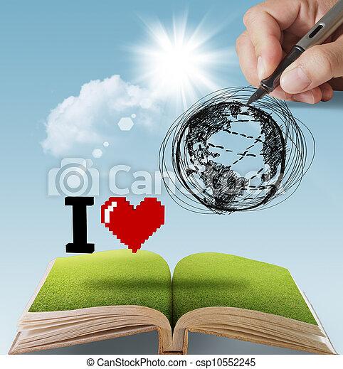 γη , μετοχή του draw , αγάπη , χέρι  - csp10552245