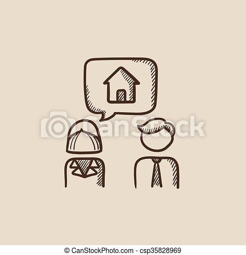 για , σπίτι , ζευγάρι , δραμάτιο , ονειρεύομαι , icon. - csp35828969