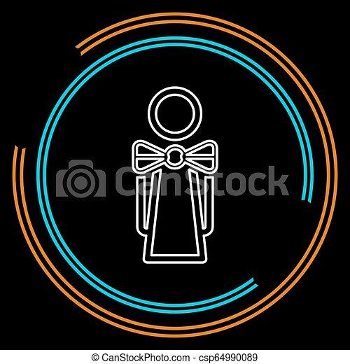 γκαρσόνι , κορίτσι , περίγραμμα , εικόνα , σερβιτόρα  - csp64990089
