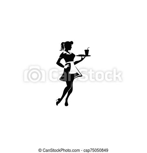 γκαρσόν , σερβιτόρα , περίγραμμα  - csp75050849