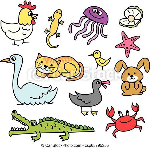 γράφω άσκοπα , θέτω , γελοιογραφία , ζώο  - csp65795355