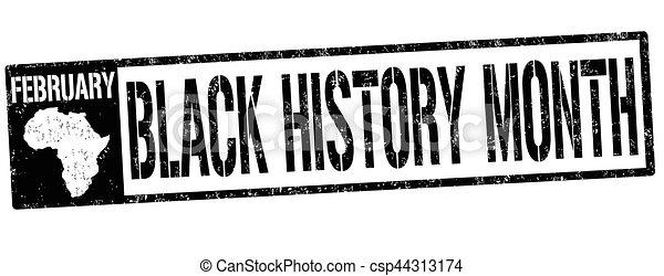 γραμματόσημο , σήμα , μαύρο , μήνας , ή , ιστορία  - csp44313174