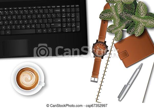 γραφείο , laptop , ttop, εφόδια , γραφείο , τραπέζι , αρσενικό , βλέπω  - csp67352997