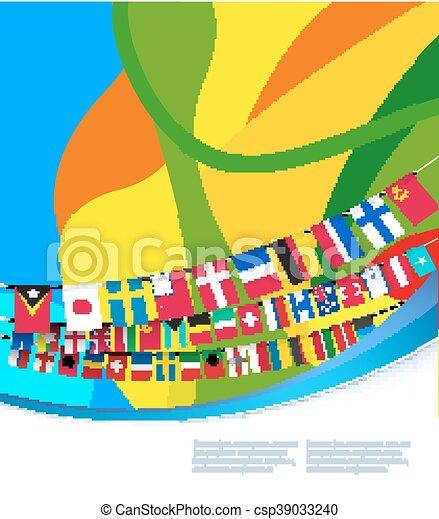 γραφικός , πρότυπο , αφαιρώ , εικόνα , μικροβιοφορέας , σημαίες , world. - csp39033240